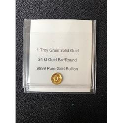 1 TROY GRAIN SOLID GOLD 24KT GOLD BAR ROUND .9999 PURE GOLD BUILLION