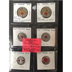 """CANADIAN """"ALL"""" REMEMBRANCE DAY & ARMISTICE SPECIAL COINS (2004-2018)"""