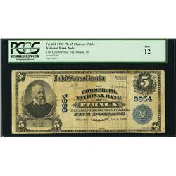 Fr. 601 1902 PB $5 Charter #9654 National Bank Note (Fine 12)