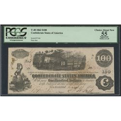 T-40 1862 $100 CONFEDERATE STATES OF AMERICA (SERIAL #37164) PLATE #Aa