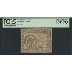 CC-30 FEB 17, 1776 $8 CONTINENTAL CURRENCY (SERIAL #50966)