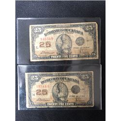 1923 CANADA 25 CENTS SHINPLASTER NOTE LOT
