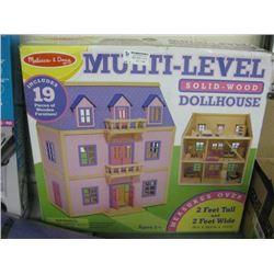 MELISSA AND DOUG MULTI-LEVEL SOILD-WOOD DOLLHOUSE