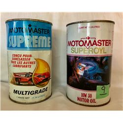 GR OF 2 MOTOMASTER OIL TINS - 1 PINT FULL
