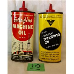 GR OF 2, CANADIAN TIRE MACHINE OIL TINS - 4 OZ SIZE