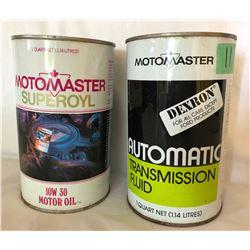 GR OF 2, MOTOMASTER OIL TINS - FULL 1 QT SIZE