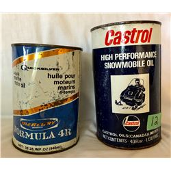 GR OF 2, MERCURY QUICKSILVER MARINE OIL TIN - 33.28 OZ FULL. CASTROL SNOWMOBILE OIL TIN - 40 OZ FULL