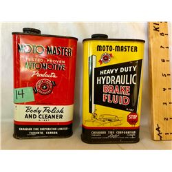 GR OF 2, MOTO-MASTER TINS - BODY POLISH & BRAKE FLUID - 20 OZ SIZE