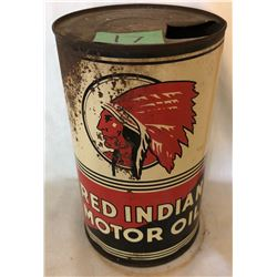 RED INDIAN MOTOR OIL TIN  - ONE PINT SIZE