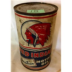 RED INDIAN AVIATION MOTOR OIL TIN - 1 QT SIZE
