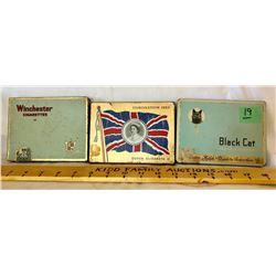 GR OF 3, CIGARETTE TINS - BLACK CAT, CORONATION, WINCHESTER