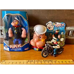 GR OF 4, POPEYE TOYS WITH ORIGINAL PACKAGING.