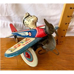 1940 KING FEATURE SYNDICATE POPEYE TIN WINDUP AIRPLANE