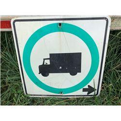 ROAD SIGN - TRUCKS GO RIGHT