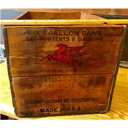 WOOD OIL CAN CRATE WITH PEGASUS OIL INSIGNIA