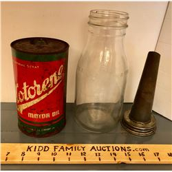 GR OF 2, MOTORENE CAN & GLASS OIL BOTTLE WITH SPOUT