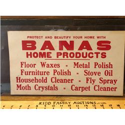 BANAS HOME PRODUCTS CARDBOARD SIGN