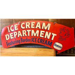 "BORDENS ICE CREAM CARDBOARD DS SIGN - 40"""