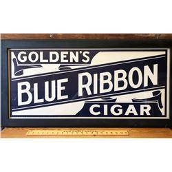 1940's FRAMED BLUE RIBBON CIGARS CARDBOAD SIGN