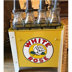 WHITE ROSE REPRO OIL BOTTLE RACK WITH WIRE CARRIER & BOTTLES