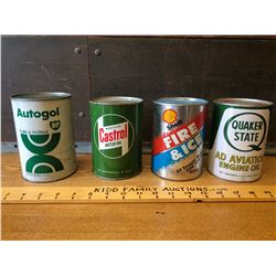 GR OF 4, MOTOR OIL CANS