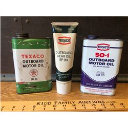 GR OF 3, TEXACO 50-1 OUTBOARD OIL CAN - FULL. OUTBOARD GEAR OIL TUBE. OUTBOARD MOTOR OIL.