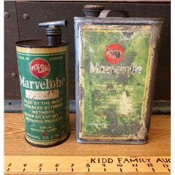 GR OF 2, 1930's IMPERIAL MARVELUBE CANS