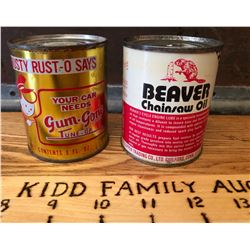 GR OF 2, BEAVER CHAIN SAW CAN & TRUSTY RUSTY ENGINE TREATMENT CAN - 8 OZ SIZE