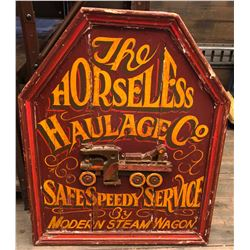 WOODEN HORSELESS HAULAGE CO SIGN