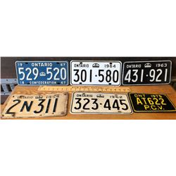 GR OF 6 VINTAGE ONTARIO LICENCE PLATES