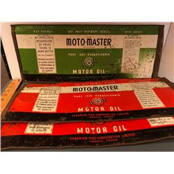 GR OF 3, FLATTENED MOTO-MASTER OIL CANS