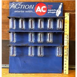 AC SPARK PLUGS WALL MOUNT PARTS RACK WITH PARTS JARS