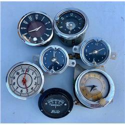 GR OF 7, VINTAGE CAR CLOCKS INCLUDING FORD
