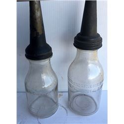 GR OF 2, QUART SIZE GLASS OIL BOTTLES WITH SPOUTS