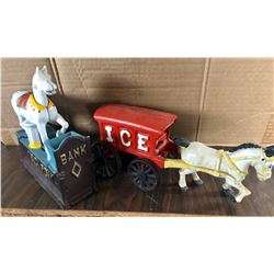GROUP OF 2 CAST TOYS INCL. TRICK PONY BANK