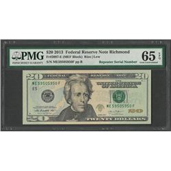 2013 $20 Federal Reserve Note Repeater Serial Number PMG Gem Uncirculated 65EPQ