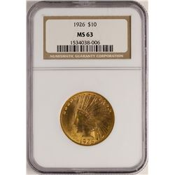 1926 $10 Indian Head Eagle Gold Coin NGC MS63
