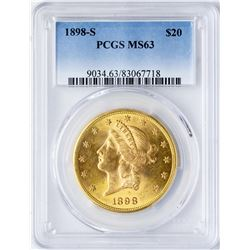 1898-S $20 Liberty Head Double Eagle Gold Coin PCGS MS63