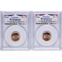 Lot of (2) 2009 Bicentennial Lincoln Cent Coins PCGS MS66RD First Day of Issue