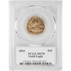 2016 $10 American Gold Eagle Coin PCGS MS70