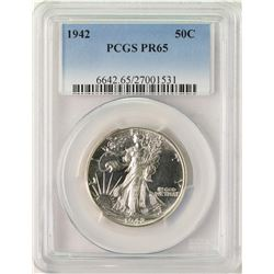 1942 Proof Walking Liberty Half Dollar Coin PCGS PR65
