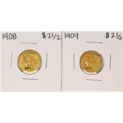 Lot of 1908-1909 $2 1/2 Indian Head Quarter Eagle Gold Coins
