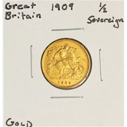 1909 Great Britain Half Soveign Gold Coin