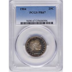 1904 Proof Barber Quarter Coin PCGS PR67 Amazing Color