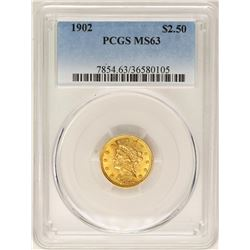 1902 $2 1/2 Liberty Head Quarter Eagle Gold Coin PCGS MS63