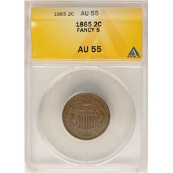 1865 Fancy 5 Two Cent Piece Coin ANACS AU55