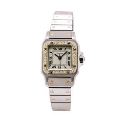 Cartier Ladies Santos Stainless Steel & 18KT Yellow Gold 0.40 ctw Diamond Wristw