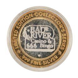 .999 Fine Silver Bad River Casino & Bingo $10 Casino Limited Edition Gaming Toke