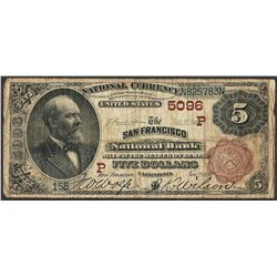 1882 BB $5 San Francisco National Bank CA CH# 5096 National Currency Note