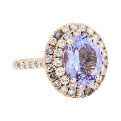 14KT Rose Gold 3.79 ctw Tanzanite and Diamond Ring